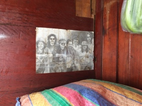 Pencil sketch hung up at the back of our first boat. So rad.